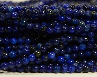 "Lapis Lazuli 2mm 7"" inch Strand  Royal Blue Natural Lapis Lazuli Round  Luxe AA Jewelry Making Supplies"