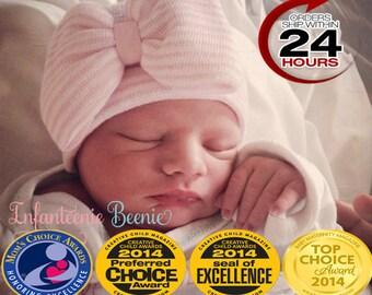 pink and White Hospital Newborn Beanie, Her First Bow, Newborn Hat, Baby Girl Hospital Hat, Newborn Girl Hat, Newborn Girl