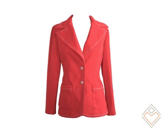 1970s vibrant poppy red jacket with white buttons and white contrast stitching // size small - medium