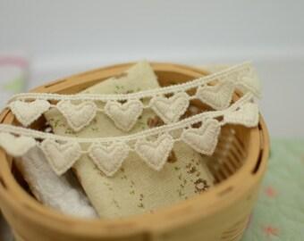 Beige Cotton Lace Trim , 3 yards