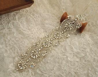 rhinestone belt applique stone applique for bridal sash, wedding gown belt