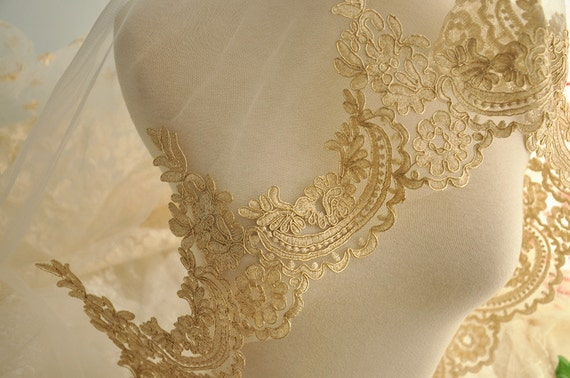 Luxury Gold Alencon Lace Trim Vintage Style Embroidered Gold