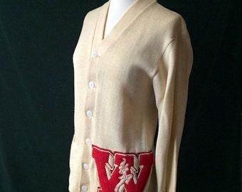 Vintage Wool Varsity Cardigan Sweater