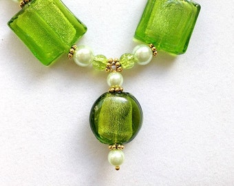 Bright Green Glass Bead and Pearl Necklace with Brass Accents