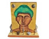 functional art, original buddha painting, jewelry organizer, ring stand, from Elizabeth Rosen
