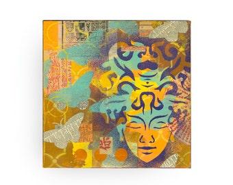 buddha painting, ORIGINAL 12x12 Collage art, butterflies, butterfly art, spray paint art, asian type, zen art, by Elizabeth Rosen
