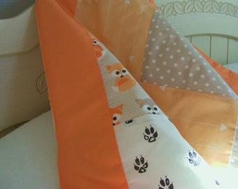 Baby Crib Sheet / Nursery Toddler Bedding - Little Fox Print Contemporary Premium Designer Fabric in Coral Peach and Grey