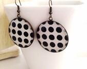 Polka Dot Disc Earrings Black & White