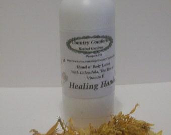 Healing Hands, Hand & Body Lotion - – Hemp Seed Oil, Calendula Oil, Tea Tree Oil – Dry, cracked skin, chapped skin - 4 oz. bottle