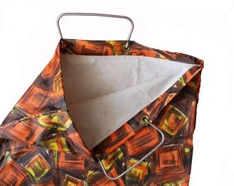 Retro Shopper Bag - Sixties / Seventies Kitsch Patternd Tote Bag- Metal Handle- Vinyl Orange Plastic -Waterproof Handbag - large vintage bag