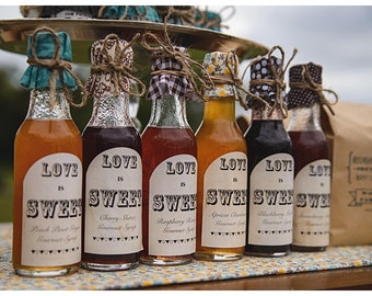 Wedding Favors Gourmet Fruit Pancake Syrups with Love is Sweet Labels  (12 Favors)