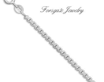 MEN'S 2.4mm Sterling Silver BOX Chain Bracelet and Necklace - 7 8 16 18 20 24 30 inch