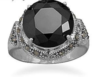 Sterling Silver Vintage Style Black CZ and Marcasite Ring - Size 6 7 8 9
