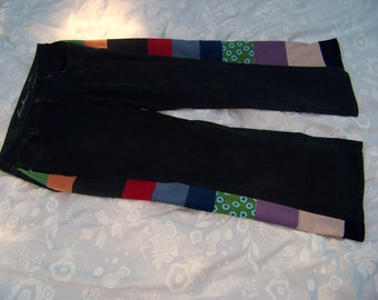 Upcyclyed Vinatge Corduory Panel Patchwork OOAK Womens Festival Pants #218