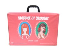 Skipper & Skooter Doll Case Vintage 1960's Barbie Storage Carry Box for Dolls, Clothes, Accessories