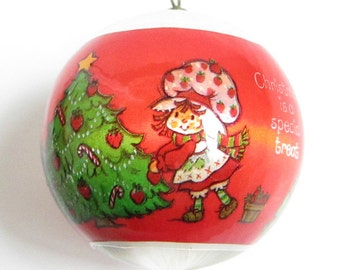 Strawberry Shortcake Christmas Ornament Vintage Silk Ball Tree Decoration - Christmas is a special treat