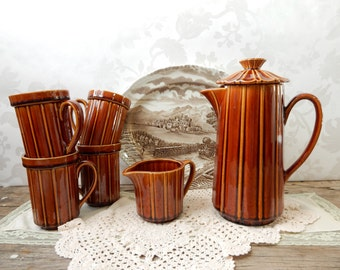 Coffee Set, Brown ceramic Japan 6 piece matching set with mismatched Westmoreland transferware Tray