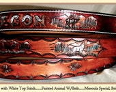Leather, Wildlife NAME Belt, Dark Brown, painted background and white stitching,Salmon,Wolf, Elk, Deer, Grizzly Bear and Bald Eagle