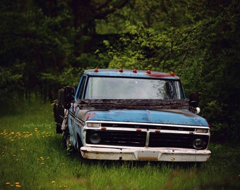 Blue Ford Truck Photo, Vintage Car Photography, Rustic Man Cave Boy Room Print, Livingroom Farmhouse Style Picture, Home Decor Wall Art