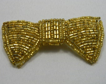 Vintage Beaded bow brooch gold beads