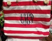 Monogrammed Beach Bag Ladies Tote Personalized Beach Bag
