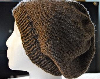 Wool Beanie, Slouchy Hat,  Winter Hat, Brown Slouch Beanie, Hand Knit, Gender Neutral, Warm Winter Hat, Ready to Ship