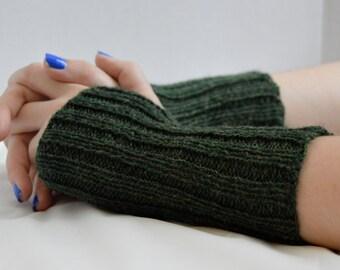 Green Knit Gloves, Fingerless Gloves, Hand Knit, Fingerless Mittens, Arm Warmers, Wool Gloves, Green Mittens,  Womens Gloves, Mittens
