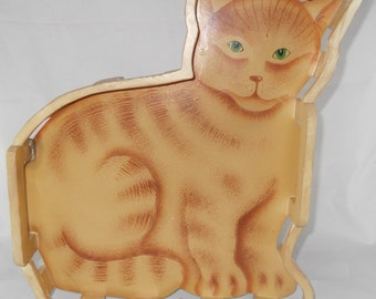 Yellow Striped Cat Wooden Tray Vintage Wood Tray Shabby Chic Decor