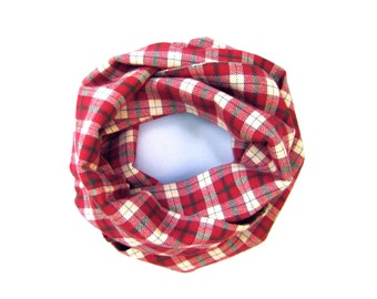 Plaid Scarf, Red Scarf, Toddler Scarf, Flannel Scarf, Unisex Scarf, Baby Bib Scarf, Winter Scarf, Boy Scarf, Girl Scarf, Ready To Ship