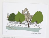 "Bolton Abbey, Yorkshire - Original art illustrative print, (10"" x 12"") 'as scene by me' range"