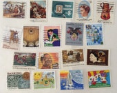 Used postage stamps - Commemoratives- decoupage - Collage -