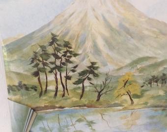 Collage kit - Mt. Fuji - Japanese landscape - DIY home decor project - paper art kit