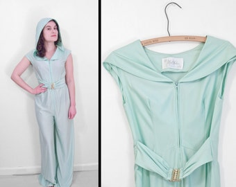 Celadon Green Jumpsuit Hooded 1970s Sea Foam Romper Poly Jersey M Alfred Werber