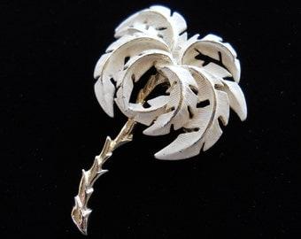 Cream Enamel Palm Tree Brooch Pin Vintage