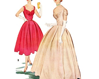 1950s Style Shelf Bust Dress with Pleated Circle Skirt Custom Made In Your Size From a Vintage Pattern