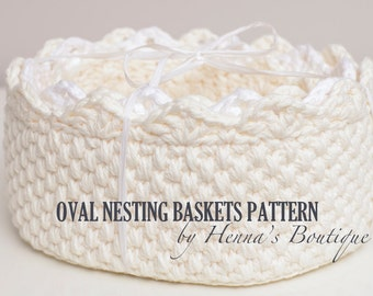 Crochet Basket Pattern - Oval Nesting Baskets - PDF