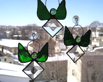 Stained Glass Angel|Stained Glass Suncatcher|Birthstone Angel Suncatcher|May Angel|Emerald Angel Suncatcher|Green|Handcrafted|Made in USA