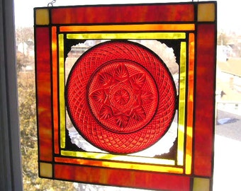Stained Glass Panel|Glass Art|Vintage Plate|Red|Orange|Yellow|Art & Collectibles|Luminarc Durand|Stained Glass|Handcrafted|Made in USA
