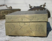 Old brass & wood box from China  BOX111