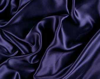 "42"" Wide Silk Stretch Charmeuse Dark Purple By the Yard"