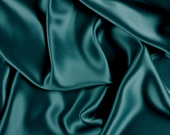 """42"""" Wide Stretch Silk Charmeuse Teal Green By the Yard"""