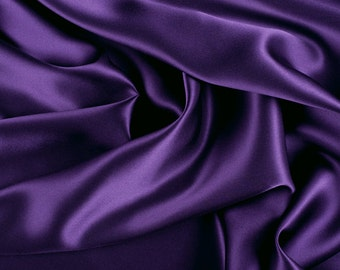 "45"" Wide 100% Silk Charmeuse Purple By the Yard"