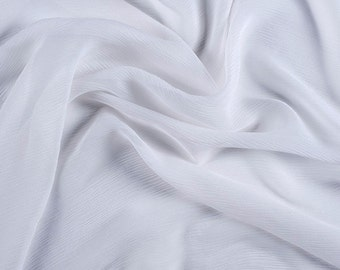 "42"" Wide 100% Silk Crinkled Chiffon White by the yard"