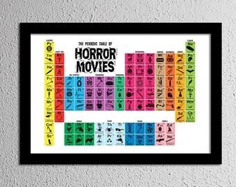 Periodic Table of Horror Movies - Original Art Print - Poster - 13x19