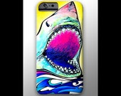 Great White Shark iPhone 4 4s 5 5s 5c 6 Case, Samsung Galaxy Hard Plastic Cover, Nature Art, Ocean Art, Wave Phone Case