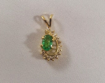 Emerald Diamond Pendant 14K Gold Vintage 1980s May Birthstone Up Cycled