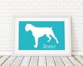 Boxer Silhouette Modern Dog Print - Custom Wall Art, Personalized Dog Print, Modern Dog Home Decor, Dog Portrait, Dog Art, Dog Lovers