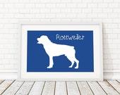 Rottweiler Silhouette Modern Dog Print - Custom Wall Art, Personalized Dog Print, Modern Dog Home Decor, Dog Portrait, Dog Art, Dog Lovers