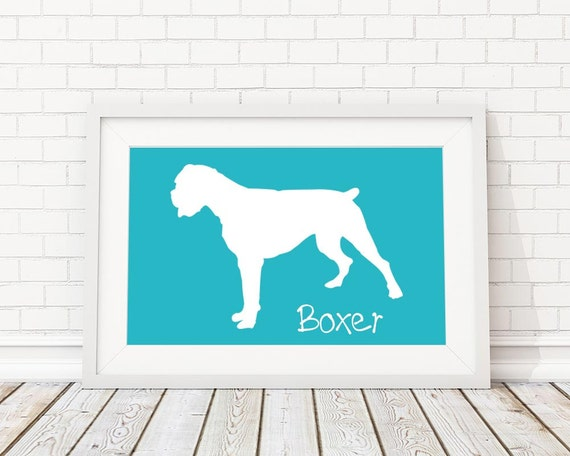 Boxer Silhouette Modern Dog Print - Custom Wall Art, Personalized Dog Print, Modern Dog Home Decor, Dog Portrait, Dog Art, Dog Lovers