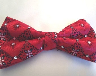 Red Bandana Bow Tie with clear rhinestones for men or women